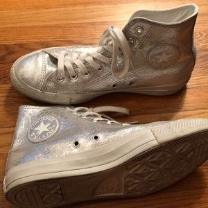 Silver animal print leather high top converse